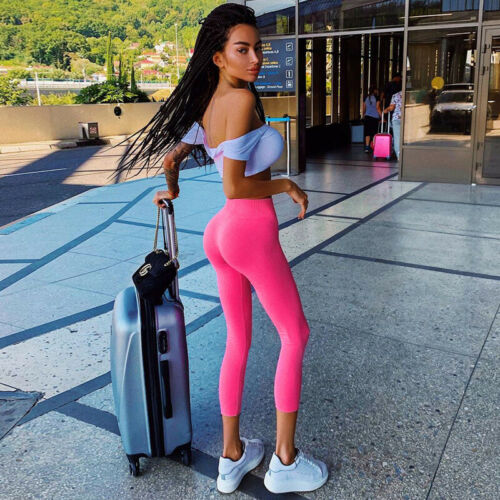 2019 Autumn Womens Pink Casual Elastic Leggings Butt Lift Pants Long Trousers Ladies Slim Leggings S M L