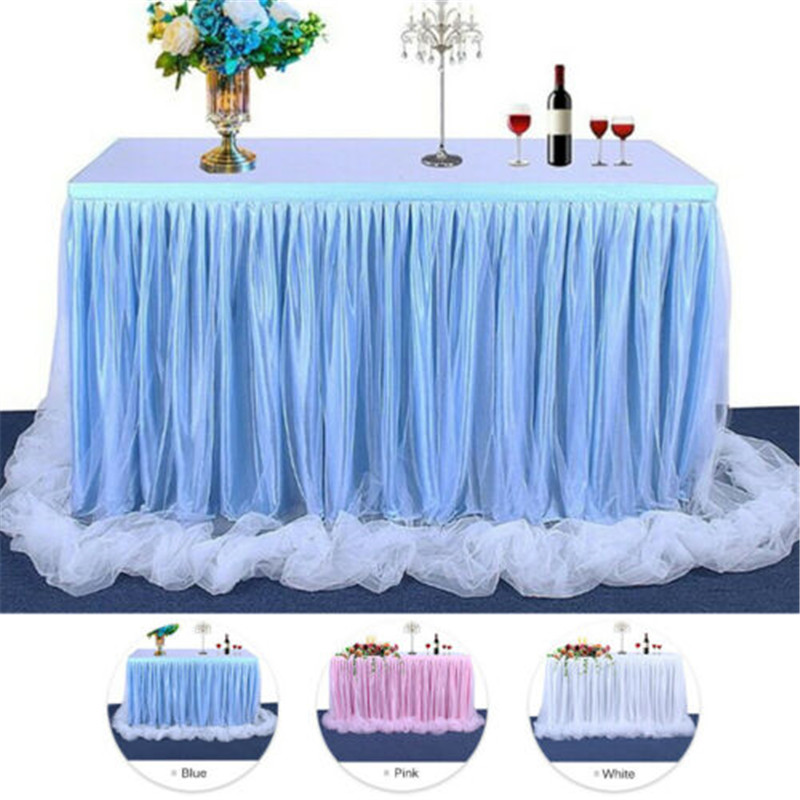 183 x77 cm Wedding Party Tutu Tulle Table Skirt Cover Tableware Cloth Baby Shower Party Home Decor Table Skirting Birthday Party
