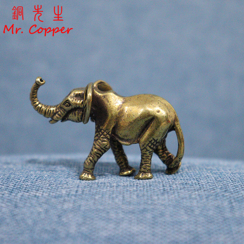 Vintage Brass Elephant Figurine Solid Statue Home Decor Collectible Mini Gold