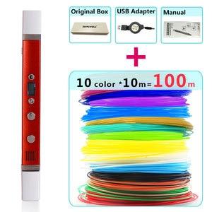 Image 1 - Myriwell 3d kalem + 10 renk * 10m ABS filamenti (100 m), 3d yazıcı pen 3d sihirli kalem, çocuklar için en iyi hediye, destek mobil güç kaynağı,