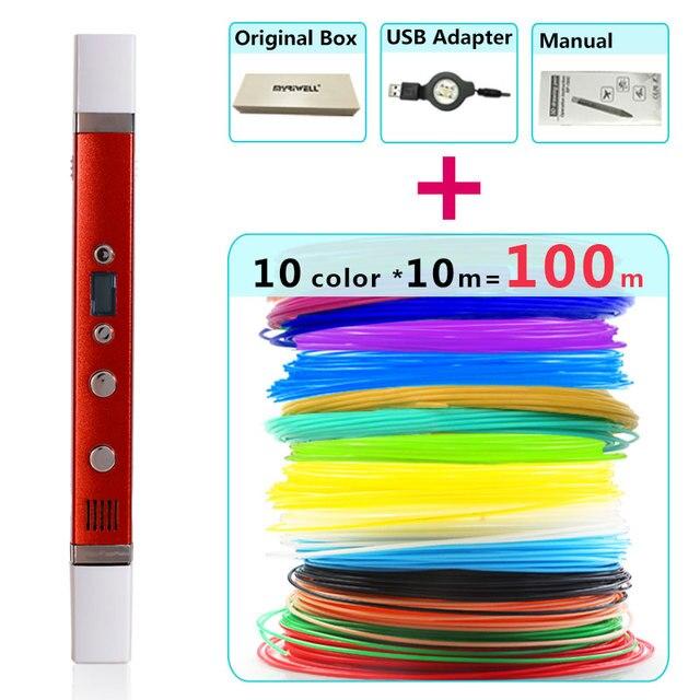 Myriwell 3d kalem + 10 renk * 10m ABS filamenti (100 m), 3d yazıcı pen 3d sihirli kalem, çocuklar için en iyi hediye, destek mobil güç kaynağı,