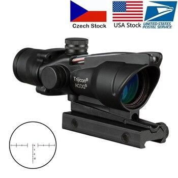 ACOG 4X32 Hunting Riflescope Real Fiber Optics Grenn Red Dot Illuminated Chevron Etched Reticle Tactical Optical Sight