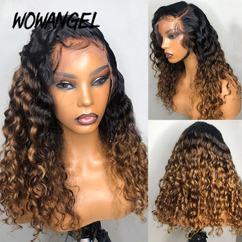 Wowangel Ombre Blonde Curly Wig 13x6 Lace Front Human Hair Wigs Pre Plucked 1b/27 Colored Brazilian Curly Remy Bleached Knot