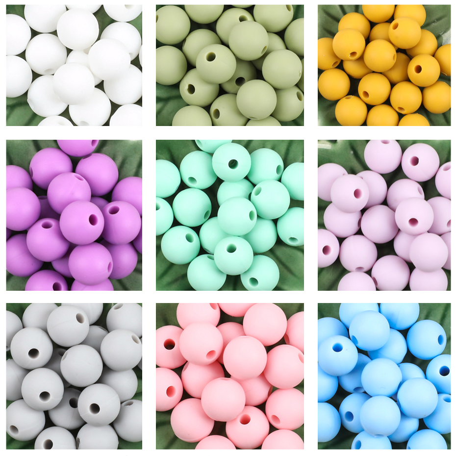 Let'S Make 100pc Teething Beads Pendant 9mm Tiny Rod Baby Crib Mobile On Bedding Teether Toys Baby Silicone Teether Baby Toys