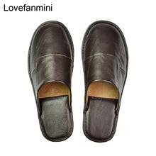 Pantoufles en cuir véritable pour couple dintérieur, antidérapantes, chaussures de maison, décontracté, semelles souples en PVC, printemps et été 508