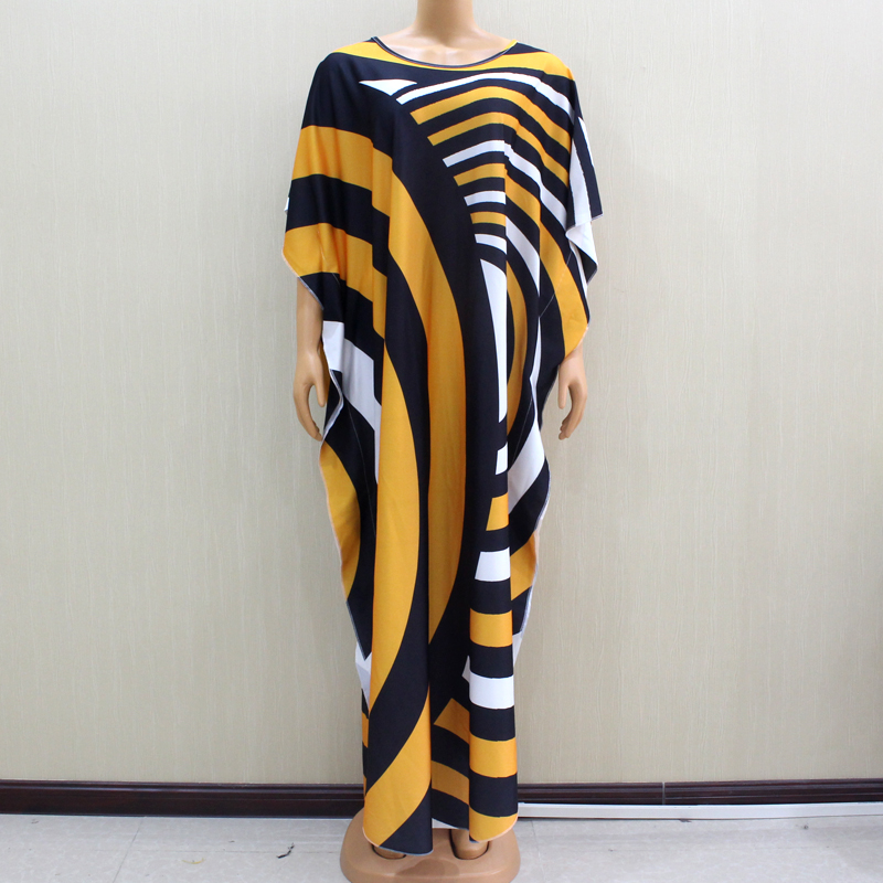 2020 Wonderful Beautiful African Dashiki Fashion Design Yellow Print Women Dress African Winter Fashion Women Dresses For Party