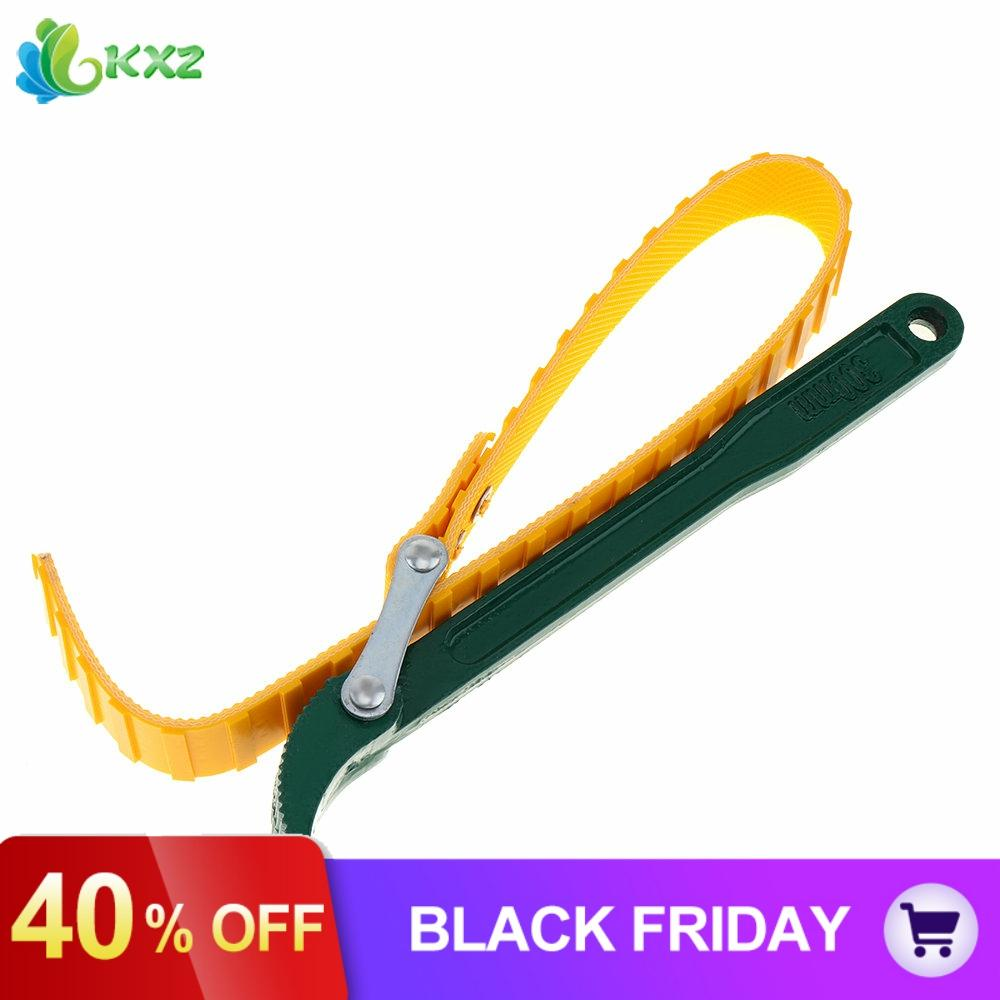 12 Inch Adjustable Metric Belt Wrench Spanner Oil Filter Removel Tools With Non-slip Rubber Strap And High Carbon Steel Handle