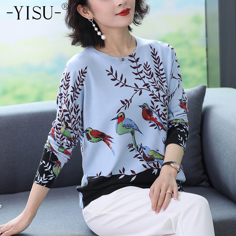 YISU Knitted Sweaters Women O Neck Long Sleeve Pullovers Magpies Print Pattern Sweater 2019 Autumn Winter Simple Sweaters