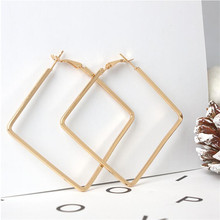 Square Hoop Earrings Simple Ear Rings Decorations Jewelry Women Trendy Alloy Fashion Exaggerated Large Shining