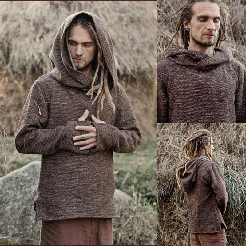 Halloween Knight Viking Pirate Tee Shirt Cosplay Medieval Costumes Tunic Men Saxon Hooded Tops Retro Outfits Long Sleeve Blouse