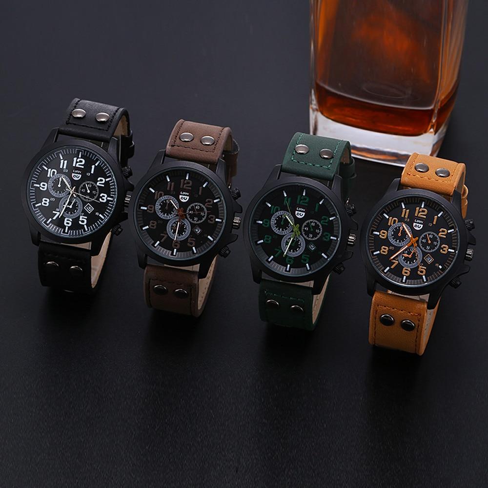 2020 винтажные классические часы мужские часы из нержавеющей стали водонепроницаемые Дата Кожаный ремешок Спортивные кварцевые армейские часы reloj|Кварцевые часы|   | АлиЭкспресс - Я б купил