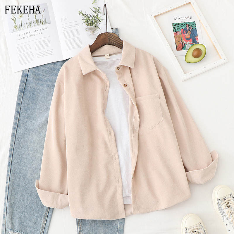 Womens Tops Shirt Blouses Spring Long-Sleeve Boyfriend-Style Loose Ladies And Corduroy