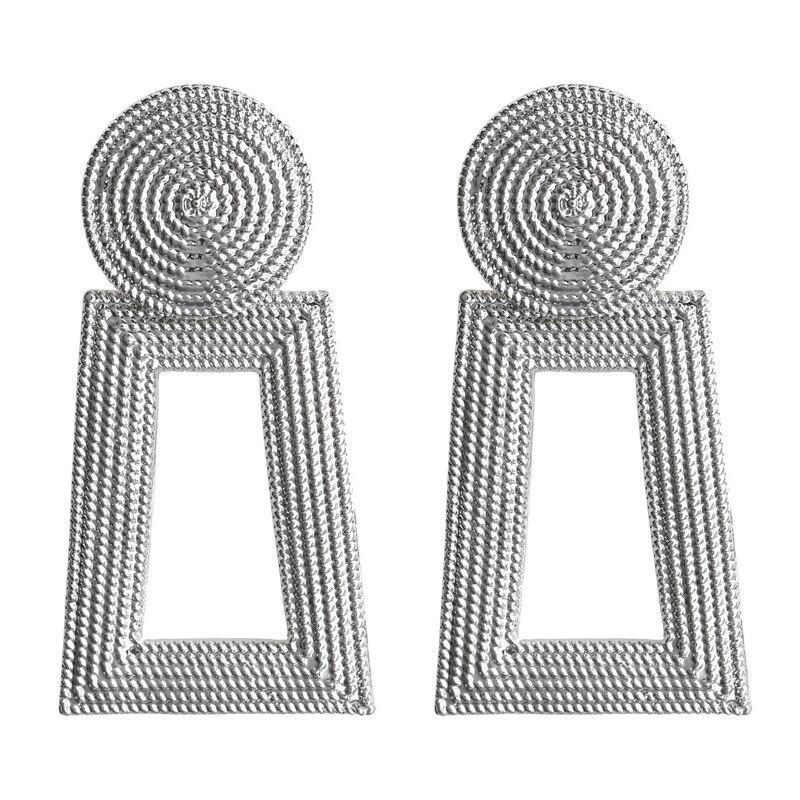 Mostyle 30 стилей модные большие винтажные золотые серебряные розовые золотые геометрические массивные металлические Висячие серьги для женщин - Окраска металла: 62929
