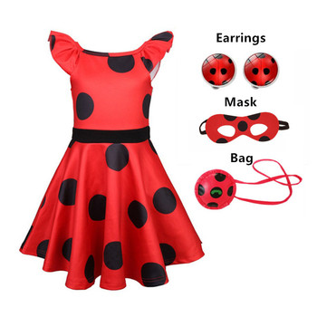 Carnival 2020 Redbug cosplay Girls Dress Summer Clothes Red bug Party Dress Children's day Lace Dot Baby Girls Dresses earring carnival red bug halloween cosplay costume princess flower girl dress summer tutu wedding birthday party red bug kids dresses