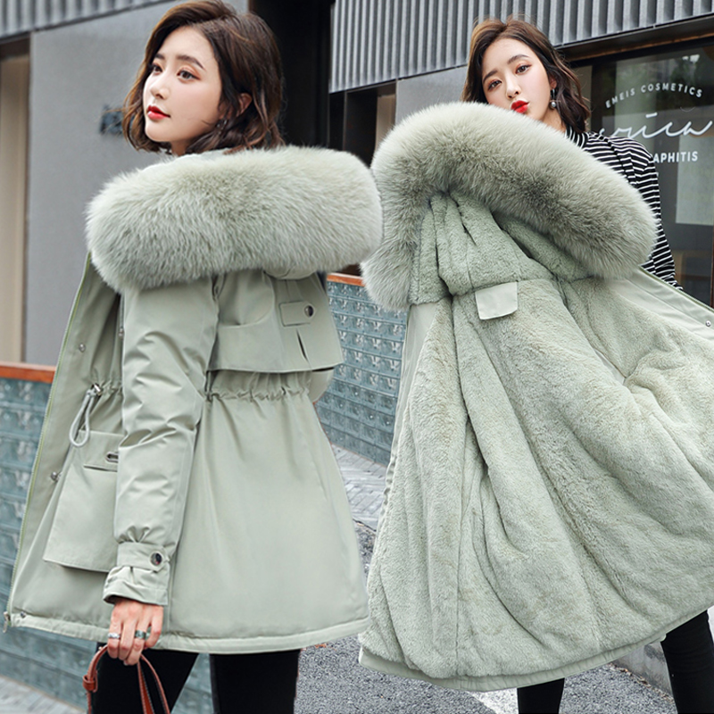 Plus Size Loose Cotton Padded Long Coat Warm Thicken Hooded Women Outerwear Fashion Big Fur Collar Parkas Female Winter Jacket