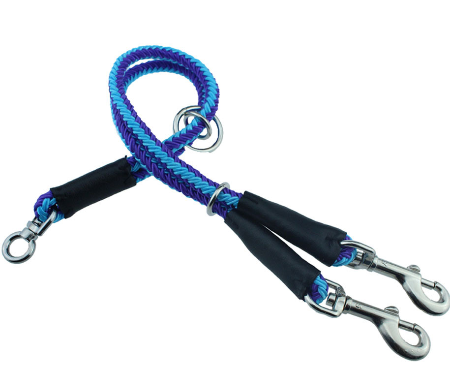 Simple Round Rope Double Headed Ke Qian Two Pet Dog Outdoor Walking Hand Holding Rope [Export Europe]