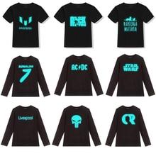 Autumn Winter Kids T shirt For Boys Girls Clothes Top Tees Cotton Long Sleeve Boys Glowing Luminous T-Shirts Children Clothing стоимость