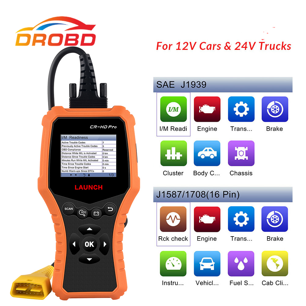 LAUNCH CR-HD Pro OBD2 code reader scanner for 12V/24V Car Truck multi-language auto diagnostic tool free update