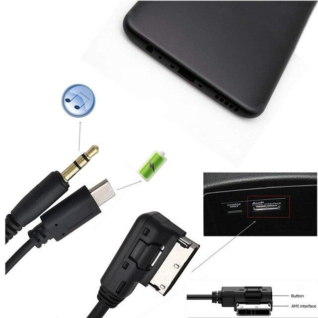 Support vers stéréo 3.5mm Audio & USB-C câble adaptateur auxiliaire en AMI MDI pour voiture Volkswagen AUDI 2014 A4 A6 Q5 Q7 30 cm/0.3 m