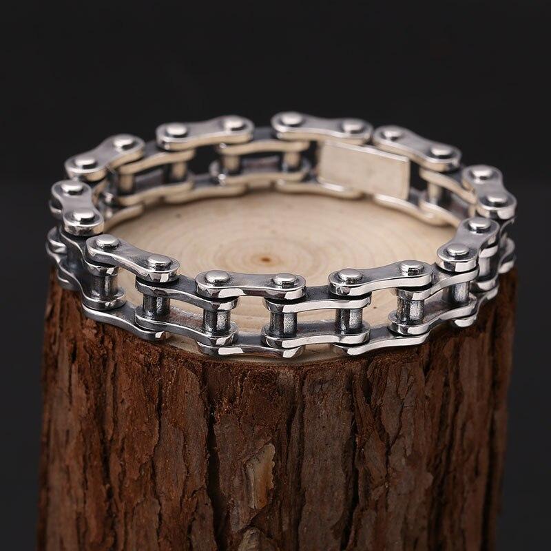 S925 Sterling Silver Color Punk Bicycle Bike Bracelets & Bangles Motorcycle Chain Men's Thai silver color Bracelet Fine Jewelry
