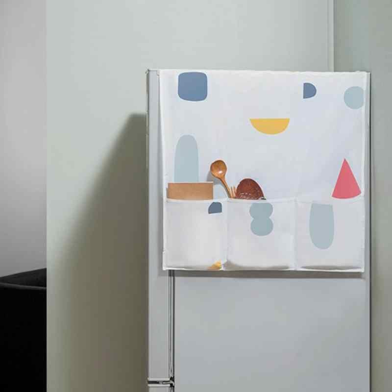 Su geçirmez toz kapakları çamaşır makinesi kapakları buzdolabı toz 6 cepler pamuk toz kapakları ev temizlik depolama tutucu