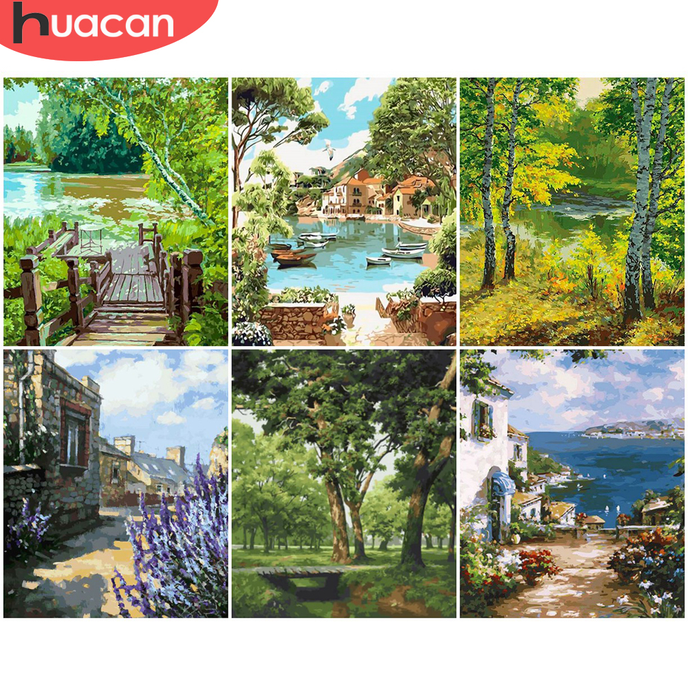 HUACAN Painting By Numbers Tree Scenery Drawing On Canvas HandPainted Gift Picture By Number Bridge Landscape Kits Home Decor