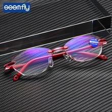 Óculos de Leitura Sem Moldura seemfly Dioptria Com + 1.0 + 1.5 + 2.0 + 2.5 + 3.5 + 4.0 Anti-blue Ray Óculos De Leitura Mulheres Muito Eyewear