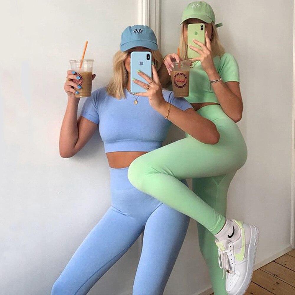Бесшовный Женский комплект для йоги, тренировочная одежда с высокой талией для женщин, спортивная одежда для женщин, штаны для йоги, одежда ...