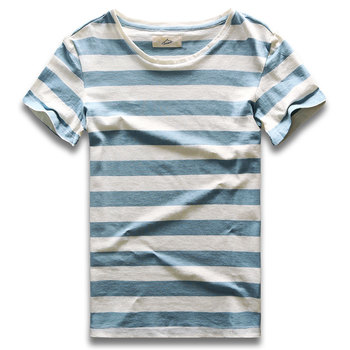 цена Men Striped T-Shirt Stripes Top Tees Male Fashion Short Sleeve Blue Red White Black Costume Cosplay Party онлайн в 2017 году