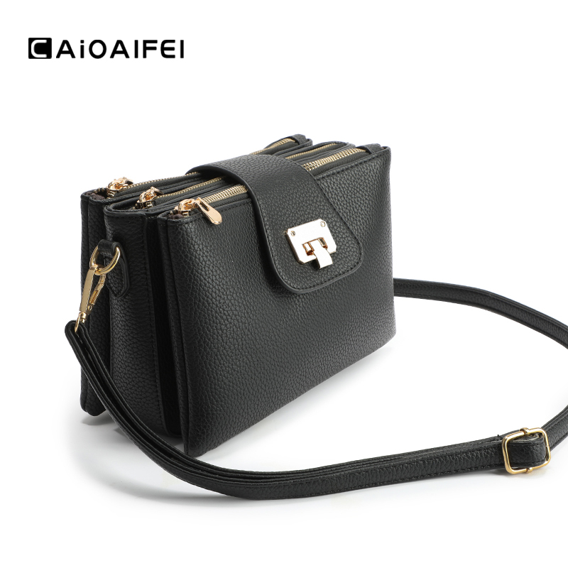 CAIOAIFEI Lychee Pattern Fashion Women Shoulder Bags Multi-layer Pocket Solid Female Flap Crossbody Bag Woman Famous Brand Bag