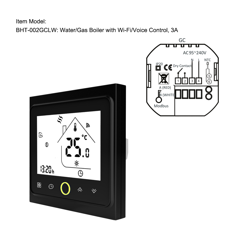 Hot WiFi Thermostat With Touchscreen LCD Display Weekly Programmable Energy Saving Smart Temperature Controller For Water/Gas Bo