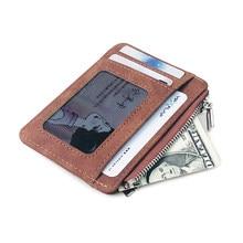 Mini porte-monnaie en cuir mat pour hommes, portefeuille rétro mince, avec fermeture éclair, porte-cartes de crédit