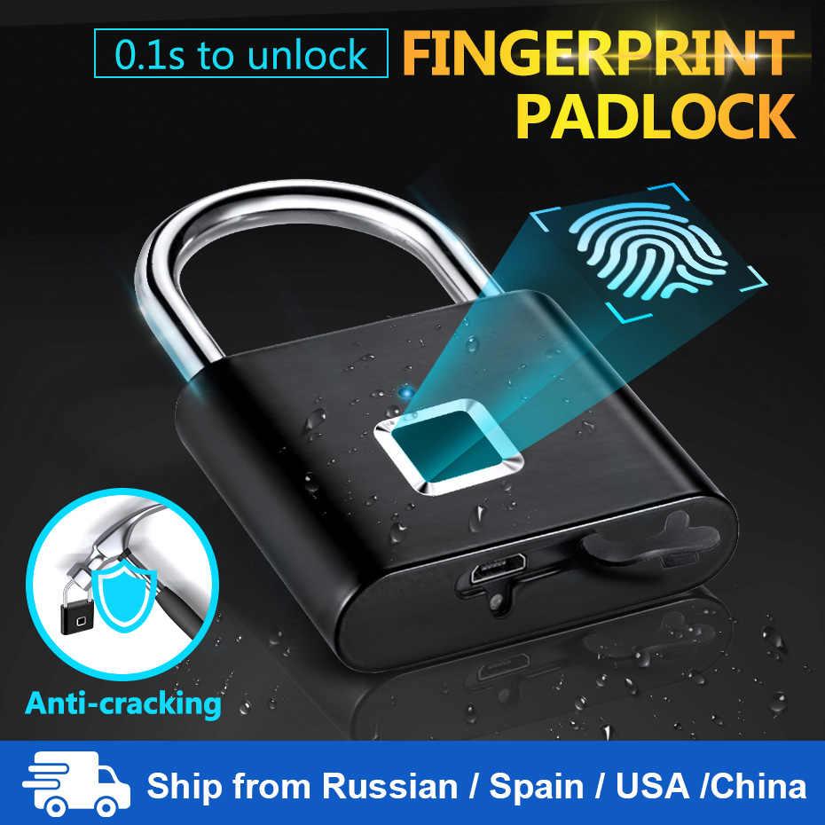 Towodeレスusb充電式ドアロック指紋スマート南京錠クイック解除亜鉛合金金属自己開発チップ