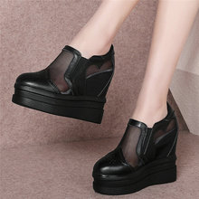 Breathable Fashion Sneakers Women Genuine Leather Wedges High Heel Pumps Shoes Female Summer Platform Oxfords Shoes Casual Shoes dumoo girl super high heel 8cm cow leather casual shoes women sneakers leisure platform shoes wedges casual shoes mixed color