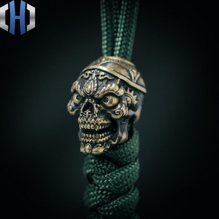 Original Skull Knife Pendant Outdoor EDC Survival Paracord Beads Car Keychain