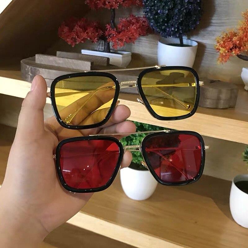 Luxury Steampunk Men Sunglasses Tony Stark Iron Man Sun Glasses Vintage Metal Eyewear Steam Punk Sunglass UV400 Male Gafas