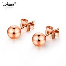 Lokaer Top Qualität Rose Gold Farbe Edelstahl Romantische Stud Ohrringe Süße Nette Runde Perlen Ohrring Schmuck Für Mädchen E18115