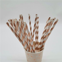 25pcs Foil Rose Gold Paper Straws Wedding Favors Metallic Drinking Birthday Party Decoration Kids Supplies
