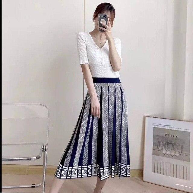 Femmes Midi Jupe Plissée Tricot Twist Motif A-Line Hiver Chaud Taille Haute