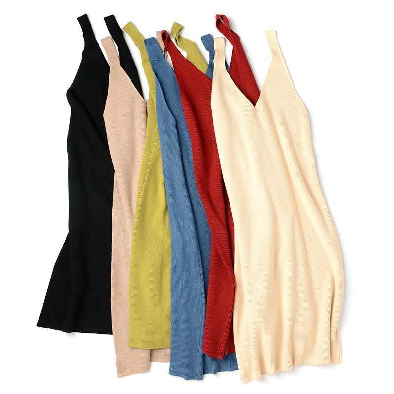겨울 뜨개질 양모 혼합 스웨터 여성 드레스 가을 2019 한국어 캐미솔 조끼 v 목 두꺼운 스웨터 여성 드레스 여성