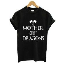 Mãe de dragões carta impressão t camisa das mulheres de manga curta o pescoço solto tshirt verão camiseta feminina topos camisas mujer