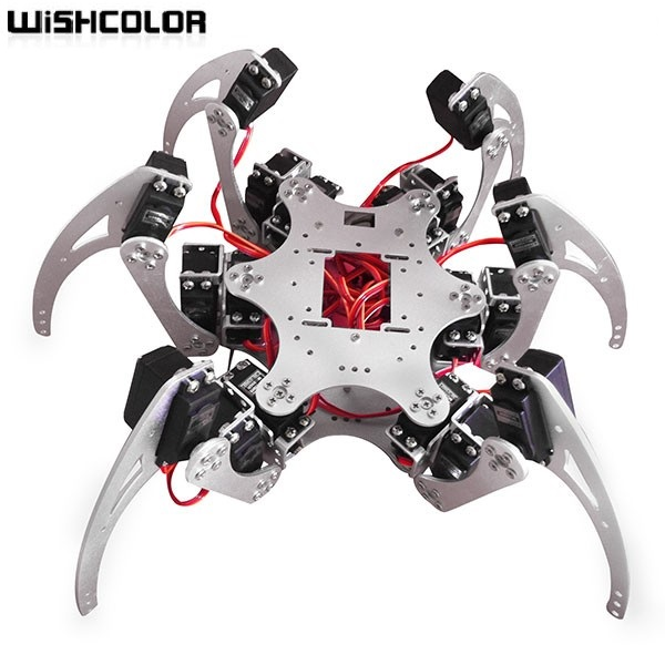 18 DOF Aluminium Hexapod Spider Six 3DOF Legs Robot Frame Kit With Ball Bearing Fully Compatible
