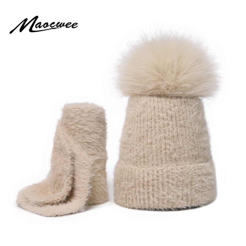 Two-piece Scarf Set Real Fur Pom Pom Hat Beanie Knitted Cap Children Winter Female Warm Wool Nature Fur Crochet Soft Solid