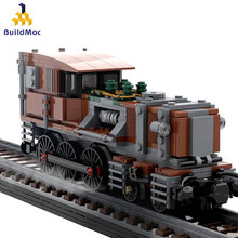Moc 10277 retro steampunk steampunk crocodilo locomotiva técnico fuxings trilho de alta velocidade blocos de construção presente brinquedo para criança