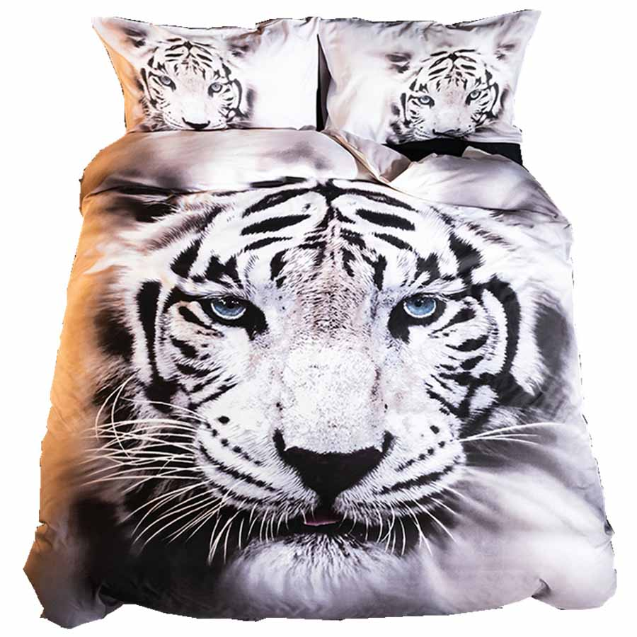 WOSTAR Bedding Set Duvet Cover 200x200 And Pillowcases Twin Bedding Set Linens Bedclothes Home Textiles Animal Pattern Tiger