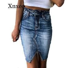 Винтажная синяя Элегантная короткая юбка джинсовая пикантная