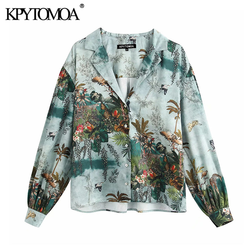 KPYTOMOA Women 2020 Elegant Fashion Printed Loose Blouses Vintage Lapel Collar Long Sleeve Female Shirts Blusas Chic Tops