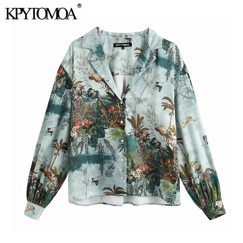 KPYTOMOA Women 2020 Elegant Fashion Printed Loose Blouses Vintage Lapel Collar Long Sleeve Female Shirts Blusas Chic Tops