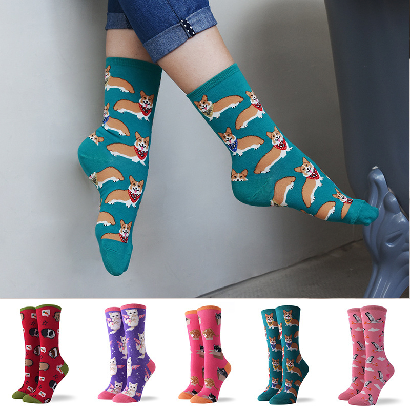Hot Sale Colorful Women's Cotton Crew   Socks   Funny Corgi Dog Flamingo Animal Pattern Creative Ladies Novelty   Socks   For Gifts