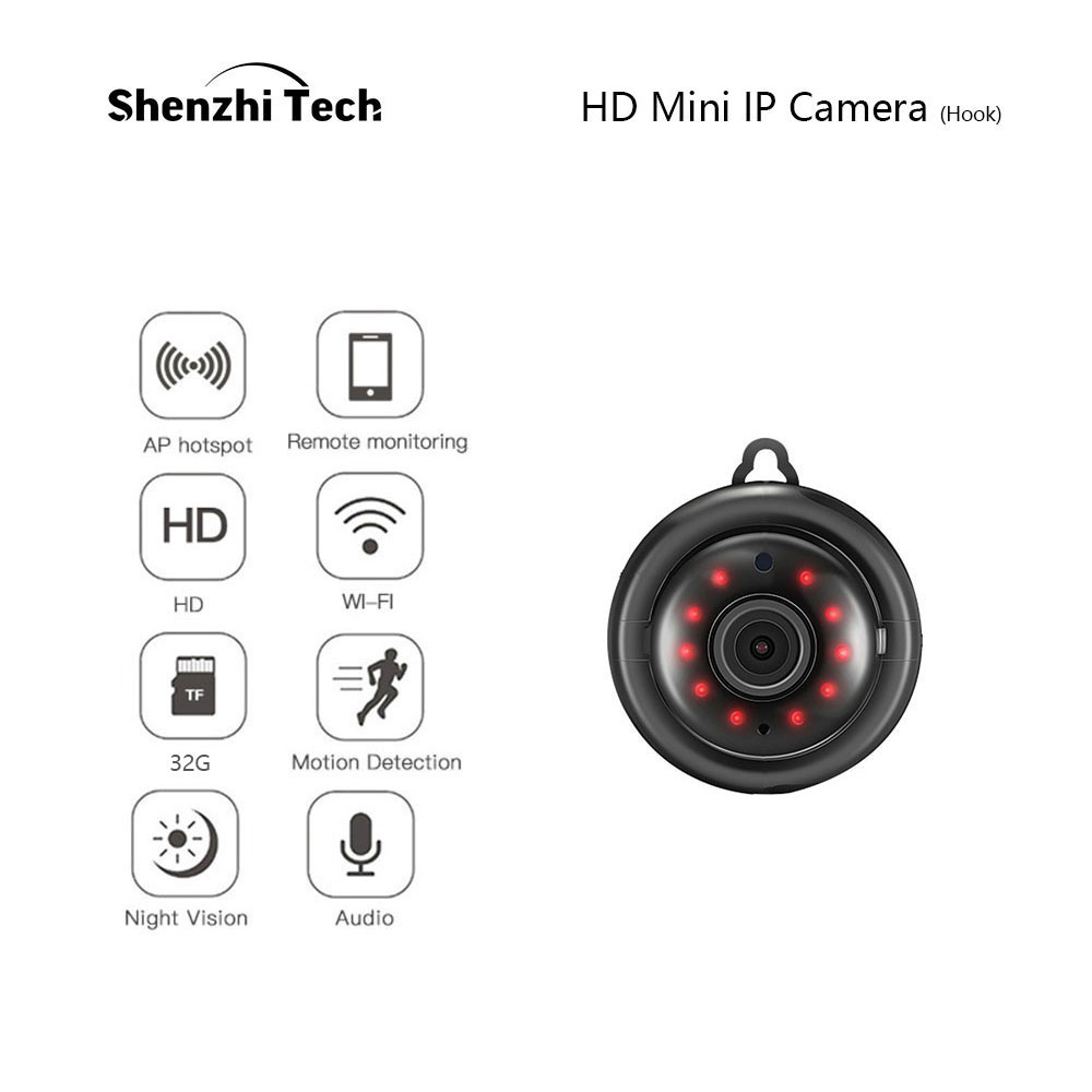IP Camera, WiFi Camera Mini Camera With Infrared Night Vision 2-Way Audio  Motion Tracker CCTV P2P Home Security (Hook Type)